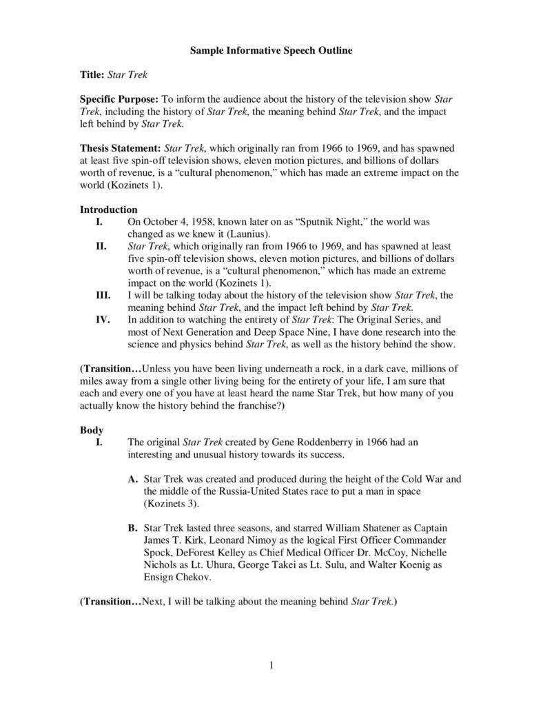 sample informative speech outline 788x1020