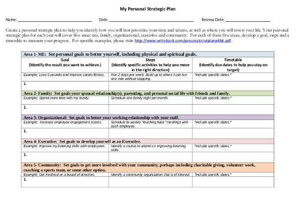 sample personal strategic plan