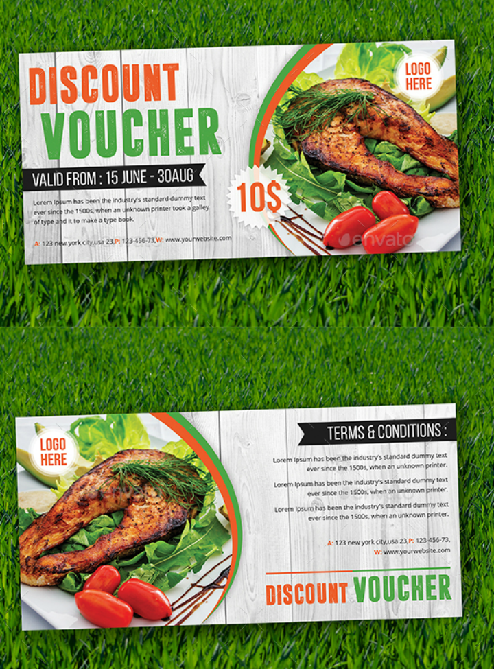 seafood restaurant discount voucher card template