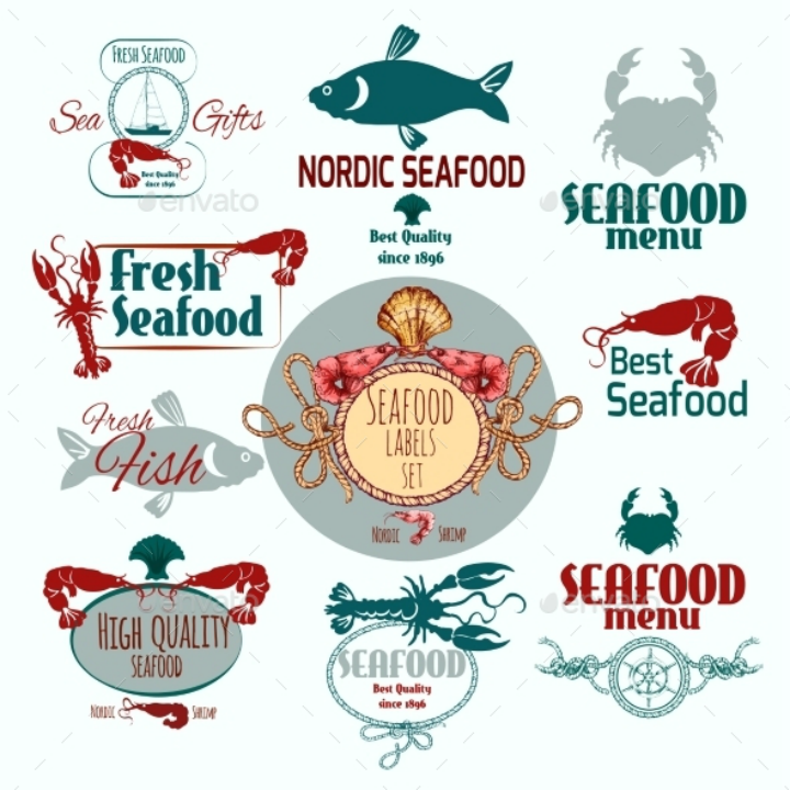 seafood-restaurant-label-set-template