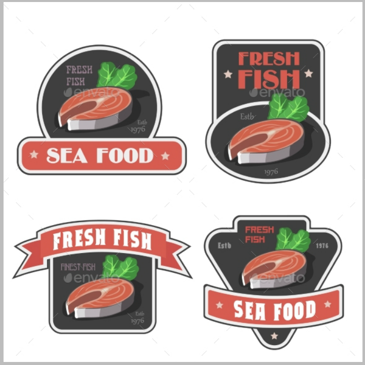 seafood restaurant label tag template
