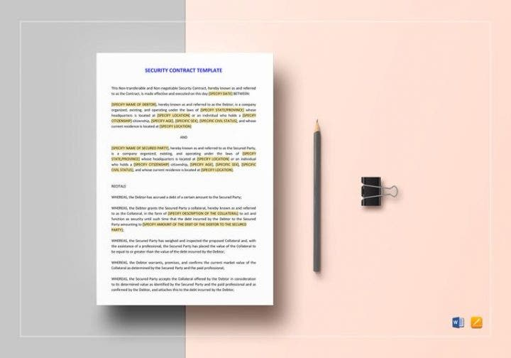 4 security agreement templates for a restaurant cafe for Security contracts templates