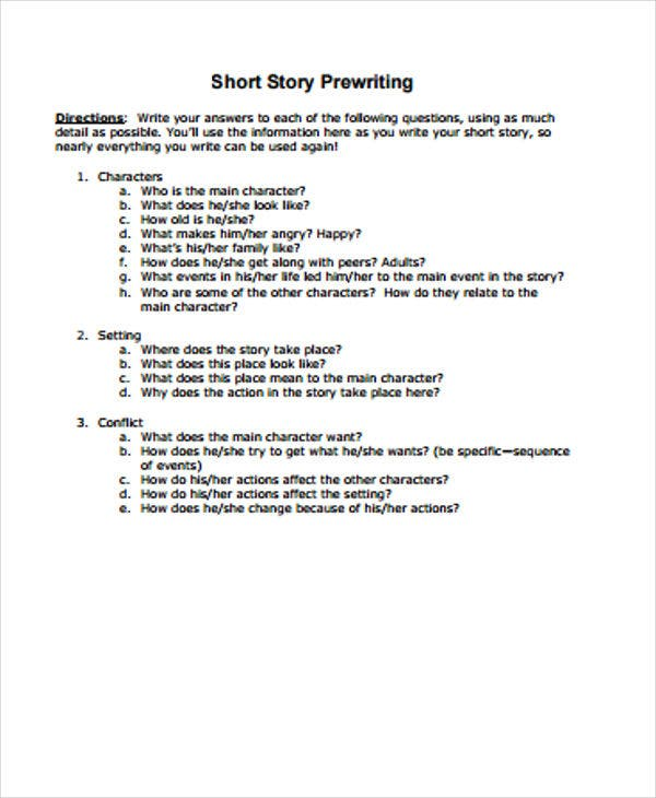 prewriting outline template - 3 short story outline templates free premium templates