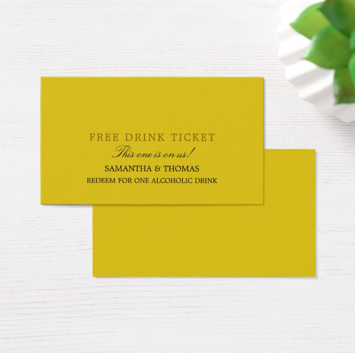 simple restaurant free drink ticket template