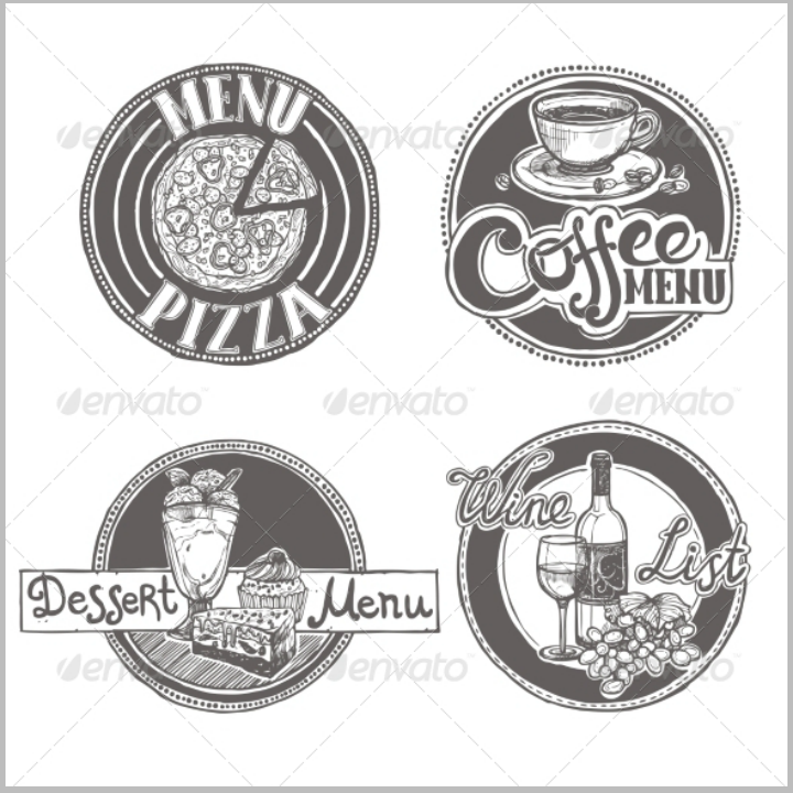 sketch-restaurant-menu-labels-set-template