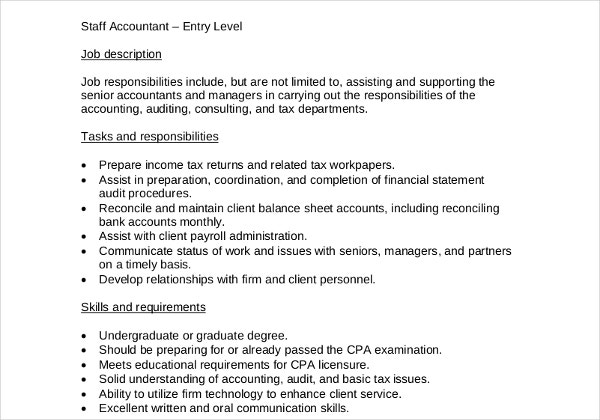 staff accountant job description template