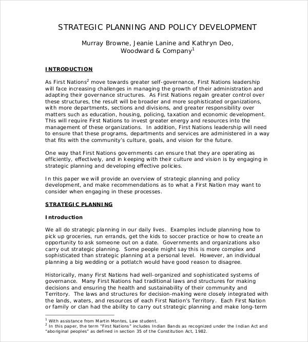 strategic planning policy development