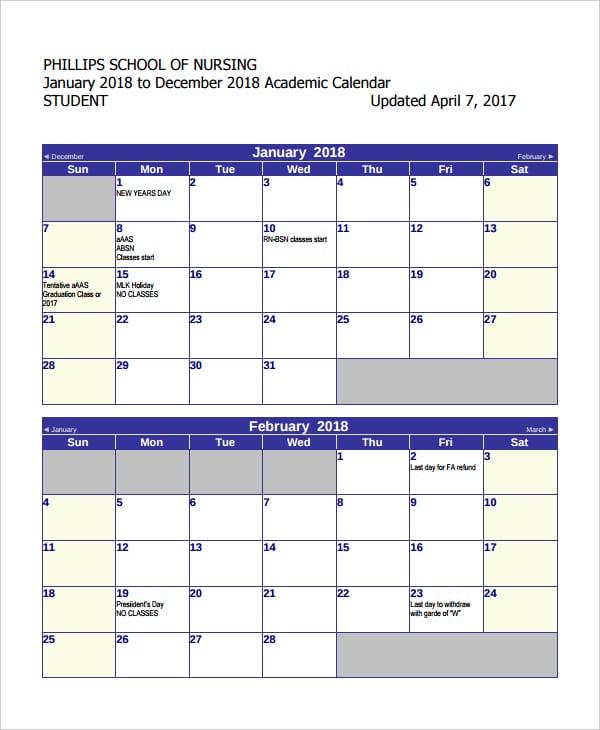 student academic calendar 2018