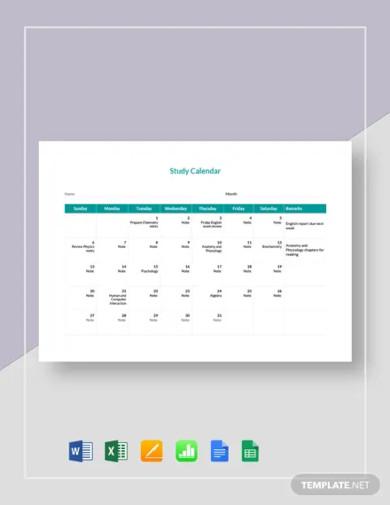 study calendar template