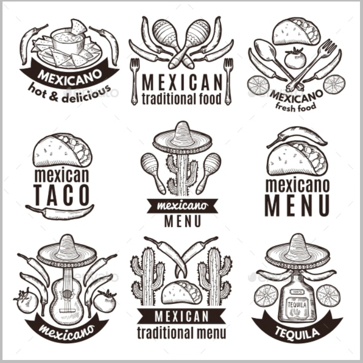 traditional-mexican-restaurant-label-set-template