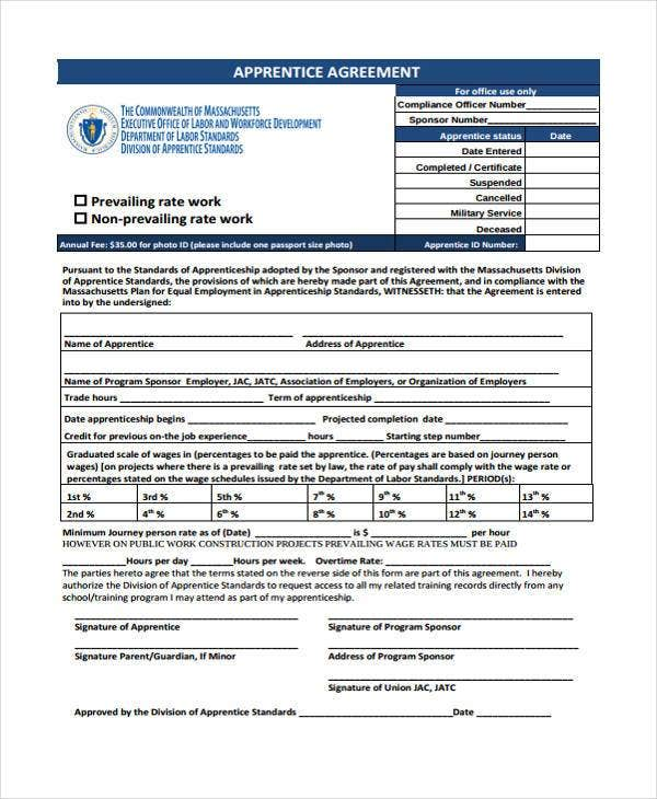 Training Apprenticeship Agreement Form