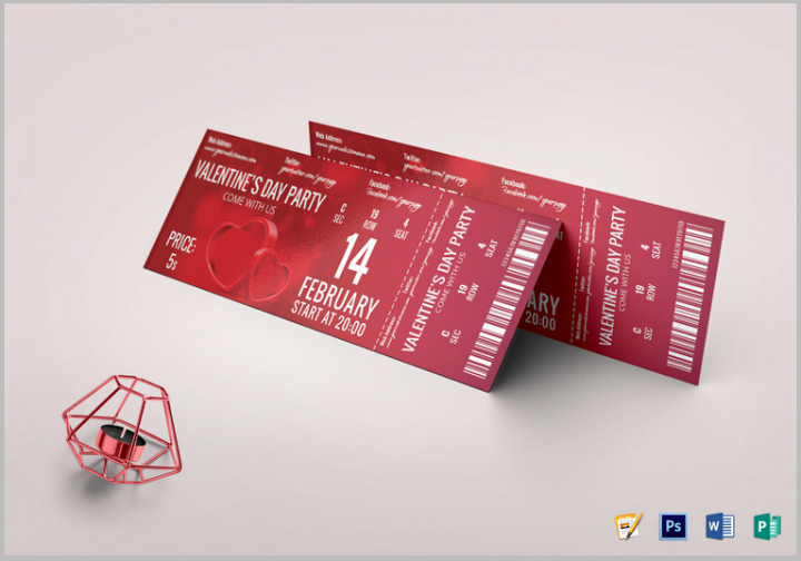 valentine event restaurant ticket design template
