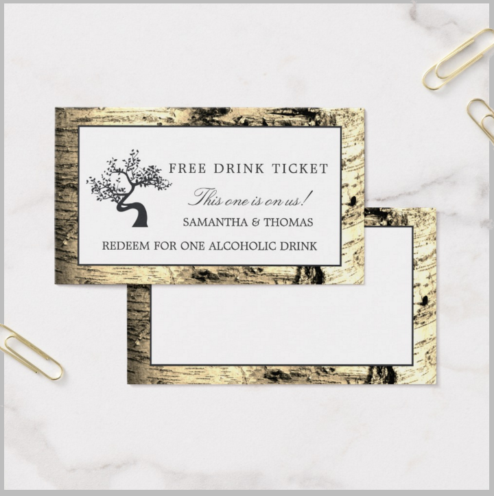 vintage birch tree restaurant free drink ticket template