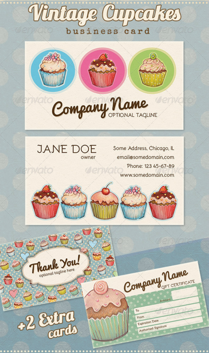 vintage cupcake restaurant thank you card template