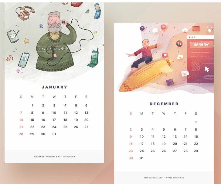 watercolor 2018 calendar design