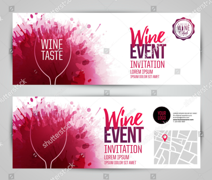 wine restaurant invitation ticket template
