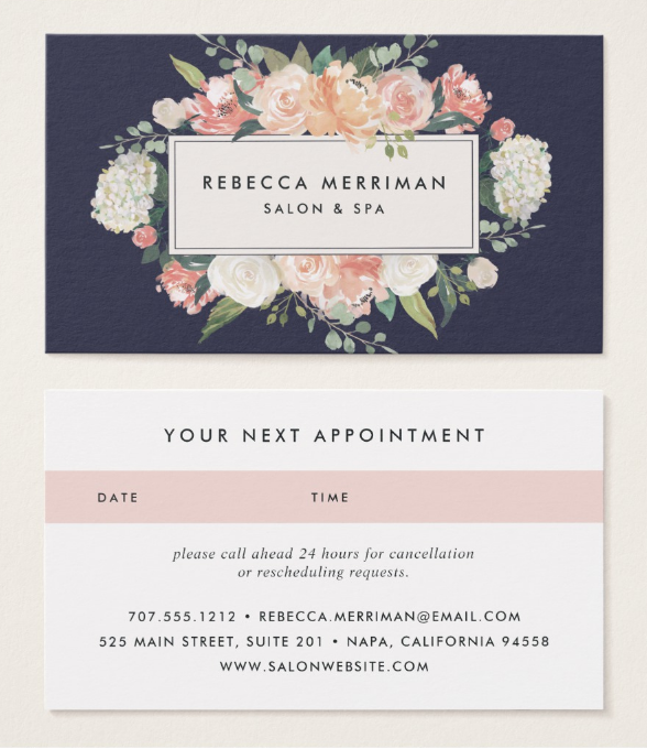 antique floral appointment card