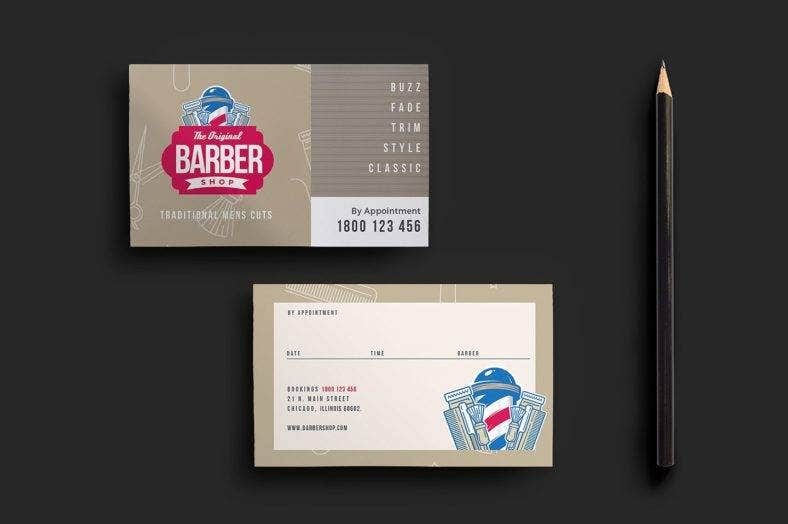 barbers shop appointment card template  788x524