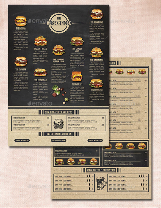 Burger Kiosk Menu Card