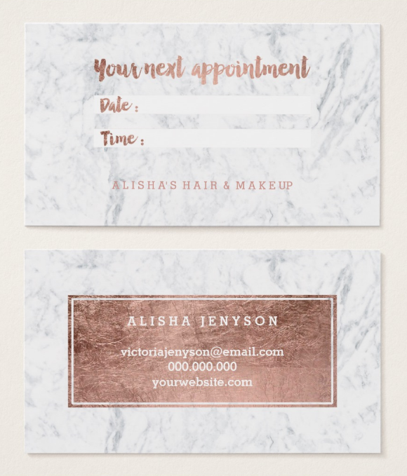 chic faux rose gold appointment card