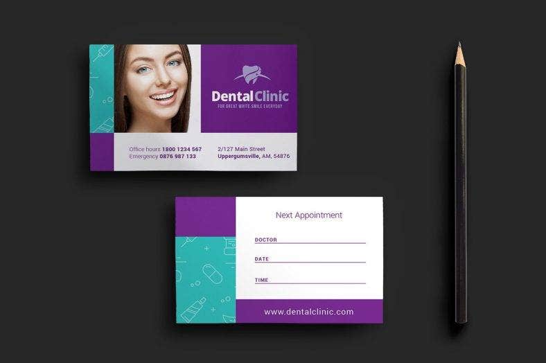 dental clinic appointment card template  788x524