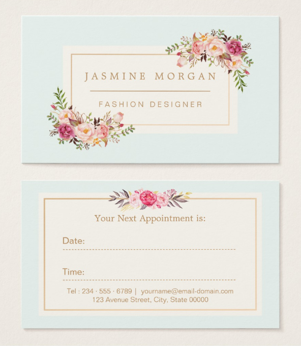 elegant pastel watercolor appointment card