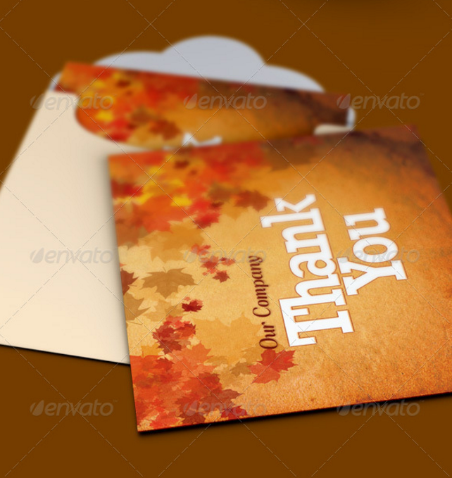 fall thank you note card