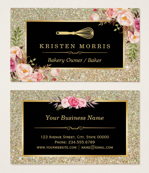 floral gold glitter bakery business card - Bakery Business Cards
