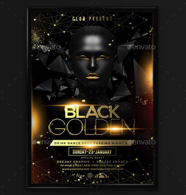 golden black club flyer