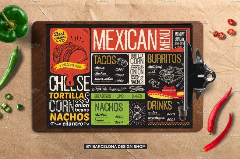 mexican food menu template restaurant cm