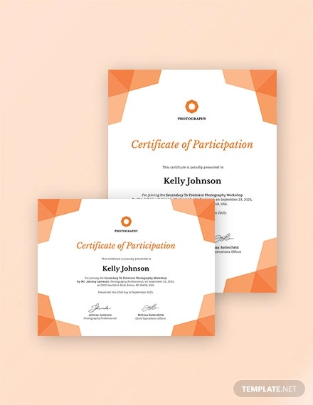 photography participation certificate