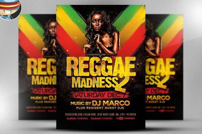 reggae madness flyer template creative market 1 788x524