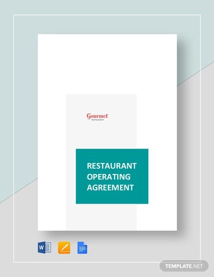 Restaurant Operating Agreement Template