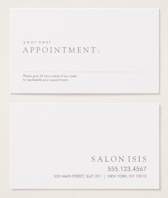 simple professional appointment card