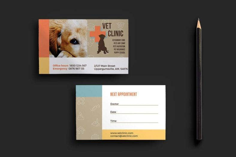 vet clinic appointment card template  788x524