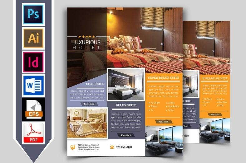 9 hotel promotional flyer designs templates psd ai for Hotel brochure design templates