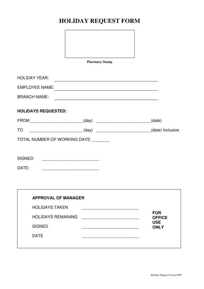 request holidays template  9  Holiday Request Form Templates - PDF, DOC | Free