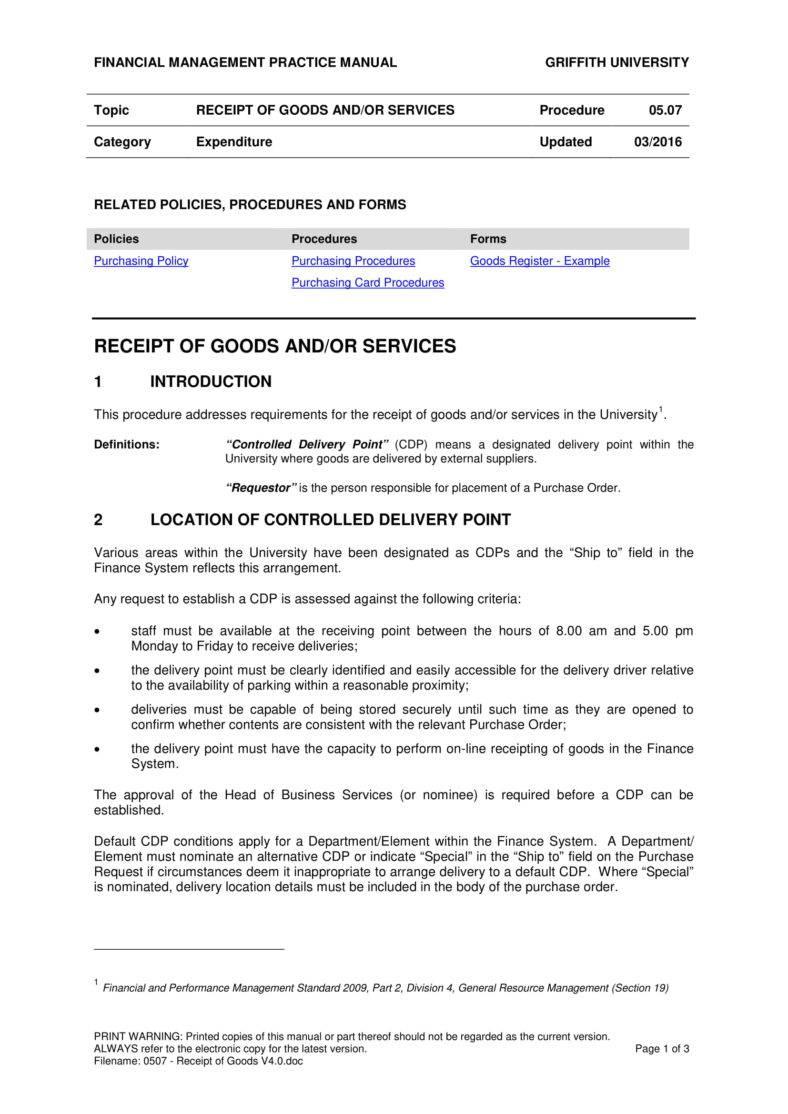 5 Goods And Services Receipt Pdf Doc Free Premium Templates