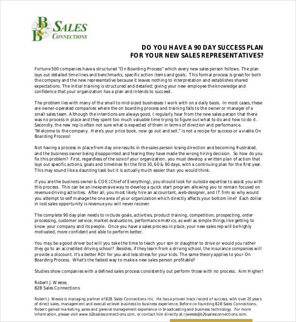 90 day sales success plan