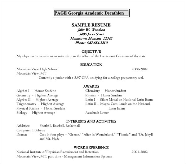 10  academic resume templates