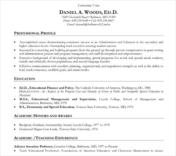 academic teacher cv template