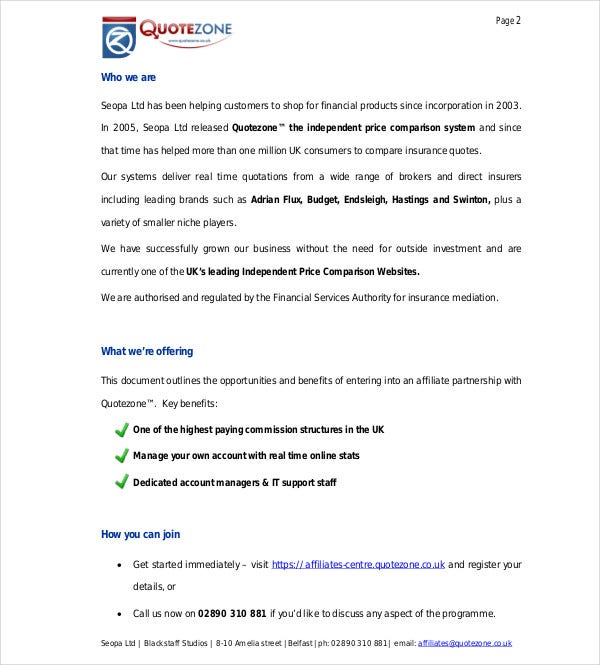 affiliate partnership proposal