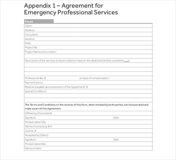 agreement for emergency professional services