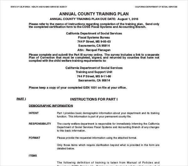 annual county training plan