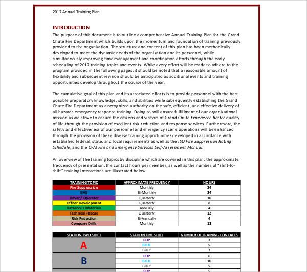 annual training plan sample