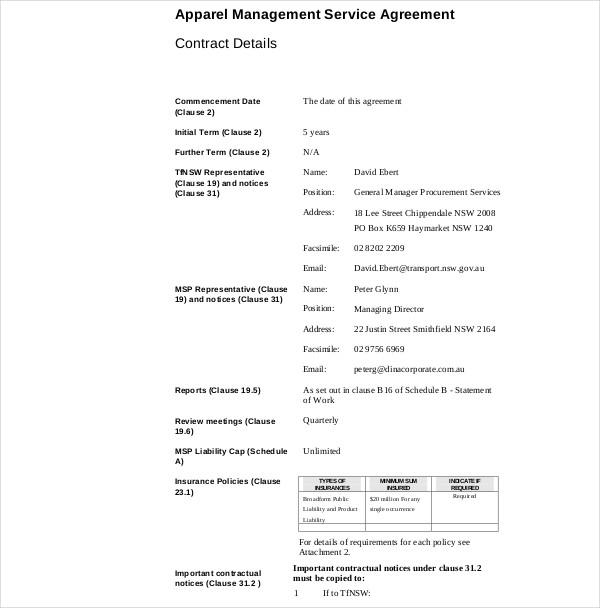 apparel management services agreement