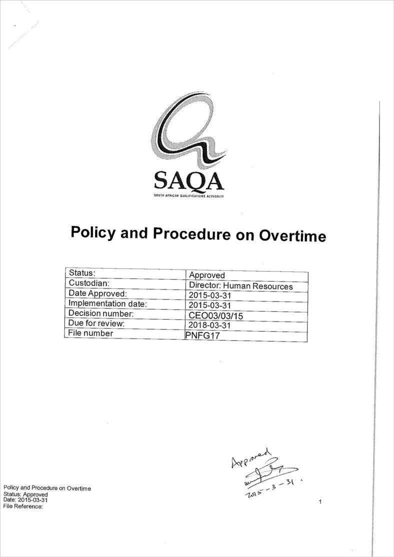 approved policy and procedure on overtime 1