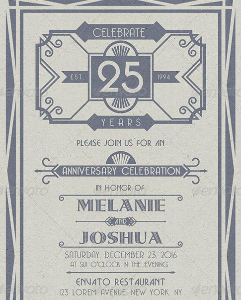 Art Deco Wedding Anniversary Card