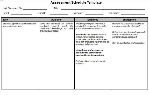 Assessment Schedule Sample