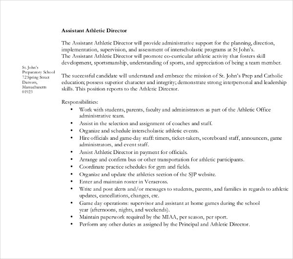 9 Athletic Director Resume Templates Pdf Doc Free